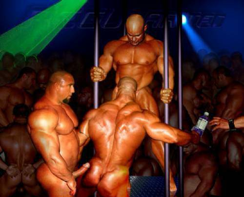 Hot gay muscle orgy